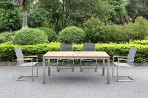 Outdoor Solution Luxury Garden stainless steel teakwood outdoor table-Item No OS3C106-T