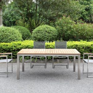 Outdoor Solution Luxury Garden stainless steel teak wood outdoor table-Item No OS3C106-T
