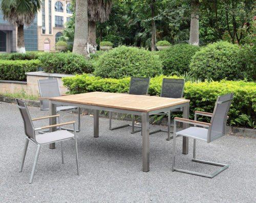 Outdoor Solution Luxury Garden stainless steel teak wood outdoor table-Item No OS3C106-T